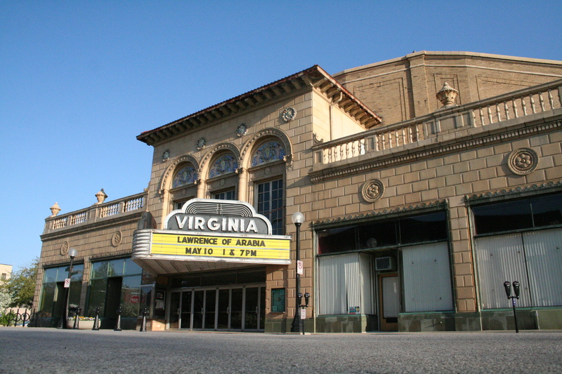 Outside of Virginia Theater with old marquee