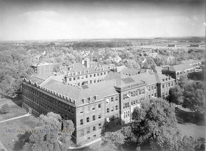 Aerial view of Noyes Laboratory, 1916