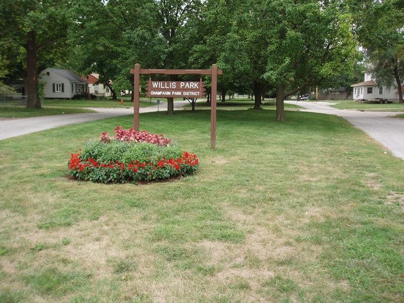 Willis Park sign and flowerbed
