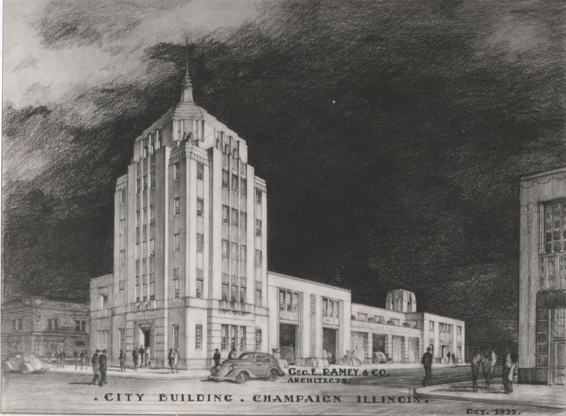 Drawing of the City Building from 1935